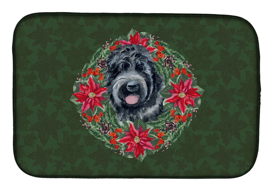 Buy this Black Russian Terrier Poinsetta Wreath Dish Drying Mat CK1543DDM