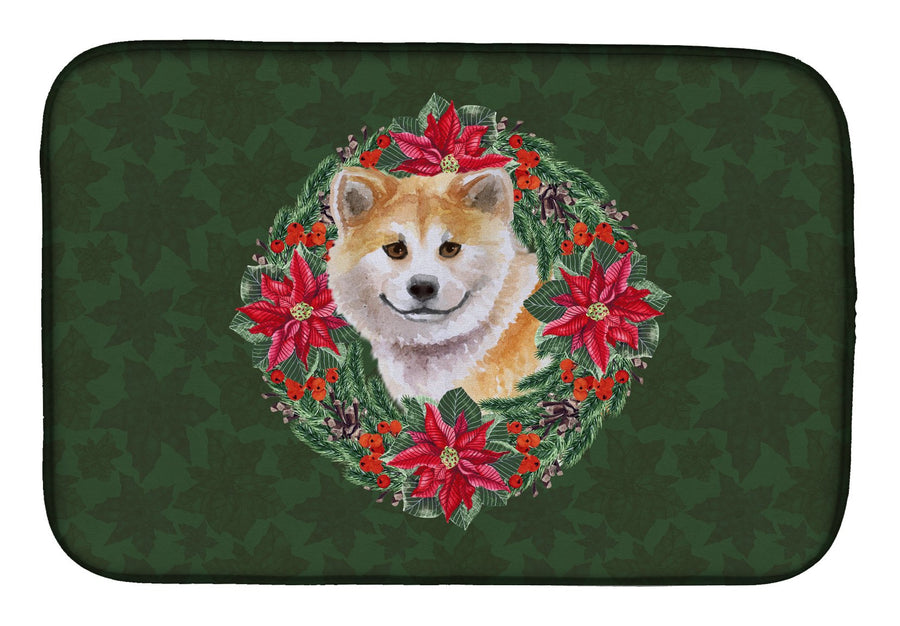 Buy this Shiba Inu Poinsetta Wreath Dish Drying Mat CK1544DDM
