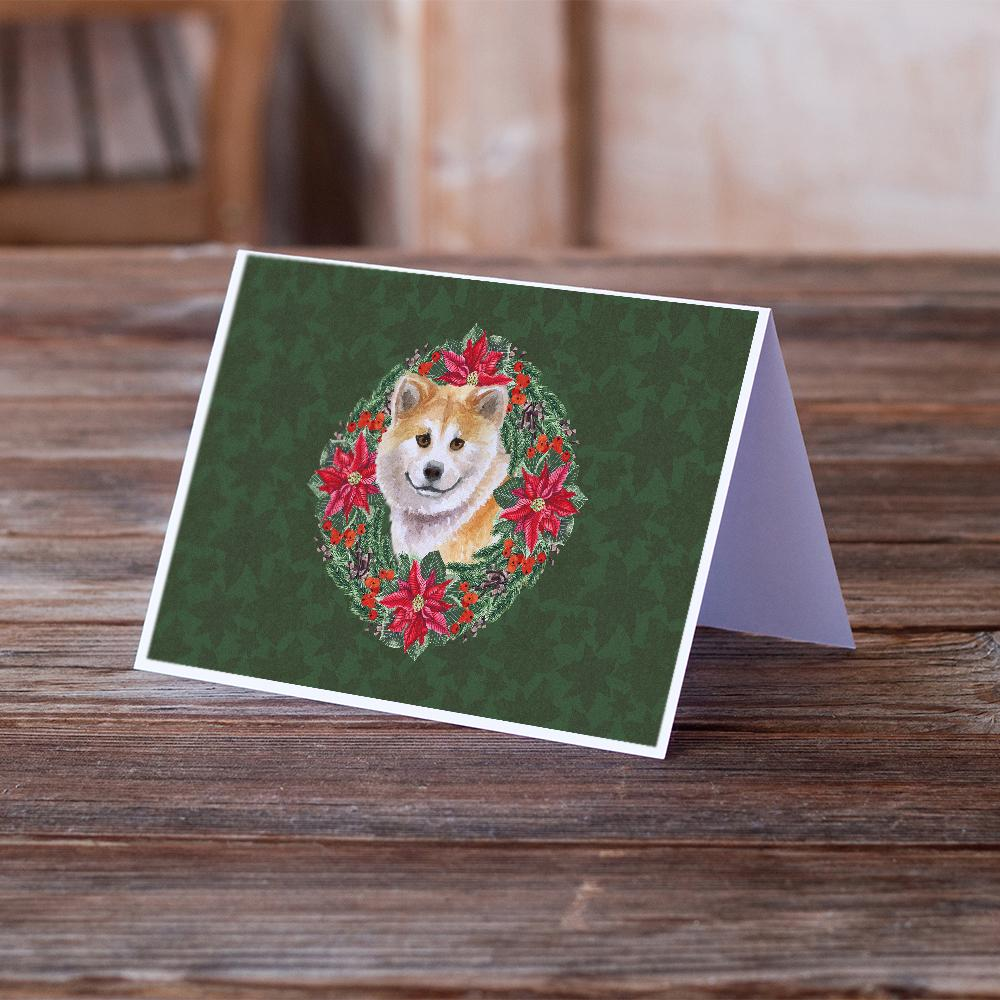 Buy this Shiba Inu Poinsetta Wreath Greeting Cards and Envelopes Pack of 8
