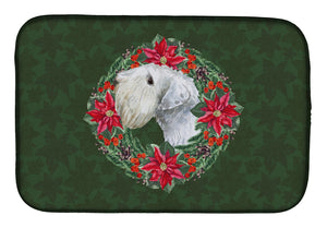 Buy this Sealyham Terrier Poinsetta Wreath Dish Drying Mat CK1550DDM