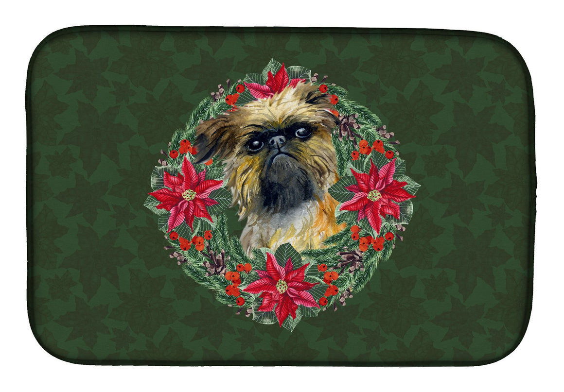 Buy this Brussels Griffon Poinsetta Wreath Dish Drying Mat CK1553DDM