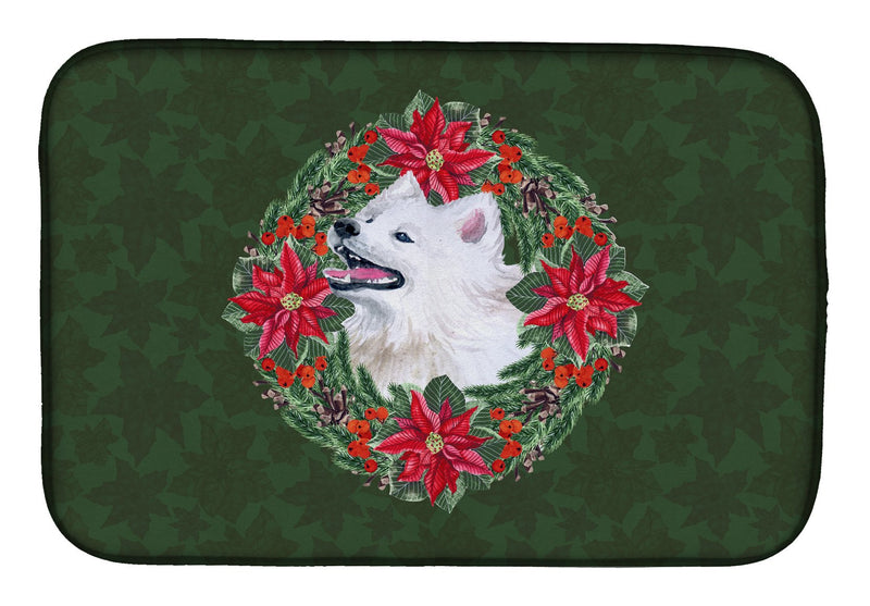 Buy this Samoyed Poinsetta Wreath Dish Drying Mat CK1557DDM