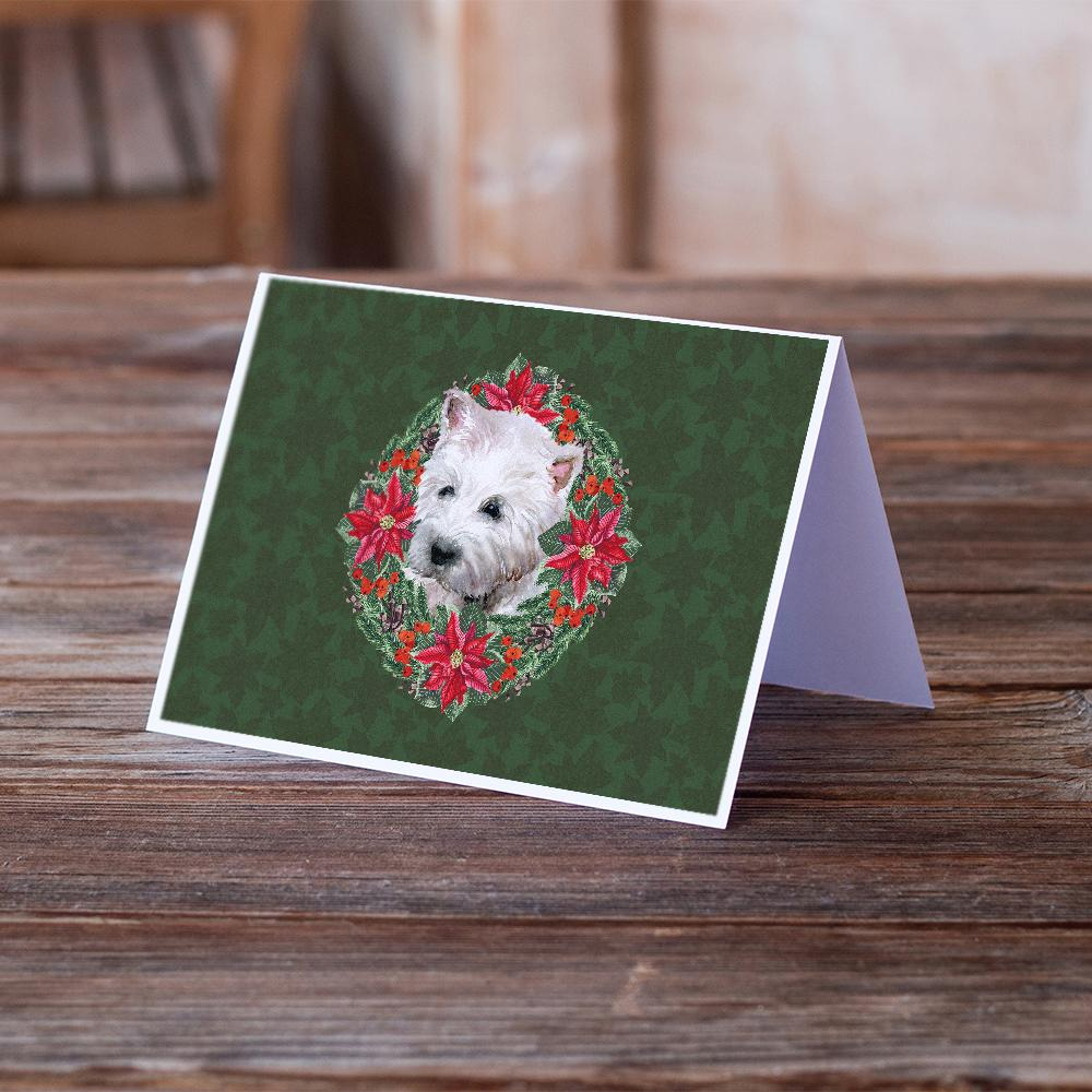 Buy this Westie Poinsetta Wreath Greeting Cards and Envelopes Pack of 8