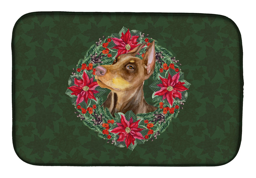 Buy this Doberman Pinscher Poinsetta Wreath Dish Drying Mat CK1575DDM