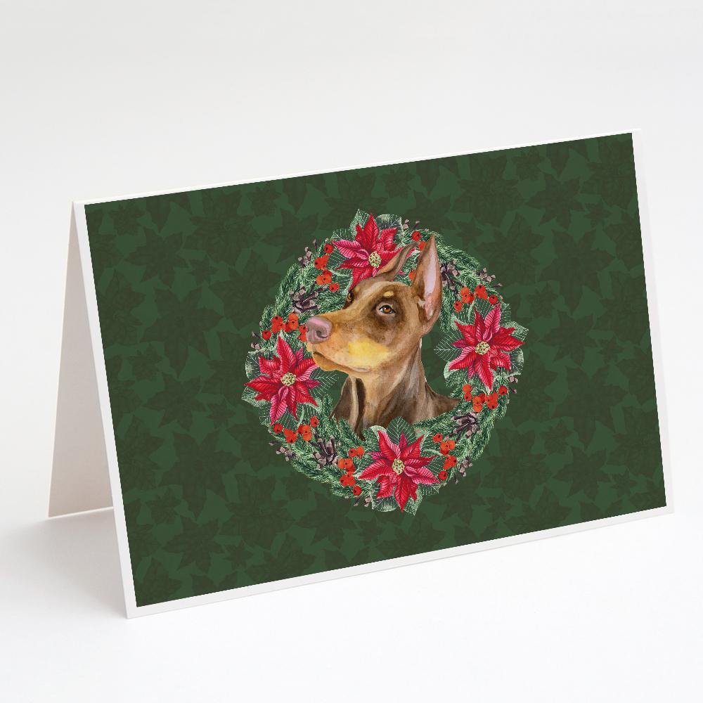 Buy this Doberman Pinscher Poinsetta Wreath Greeting Cards and Envelopes Pack of 8