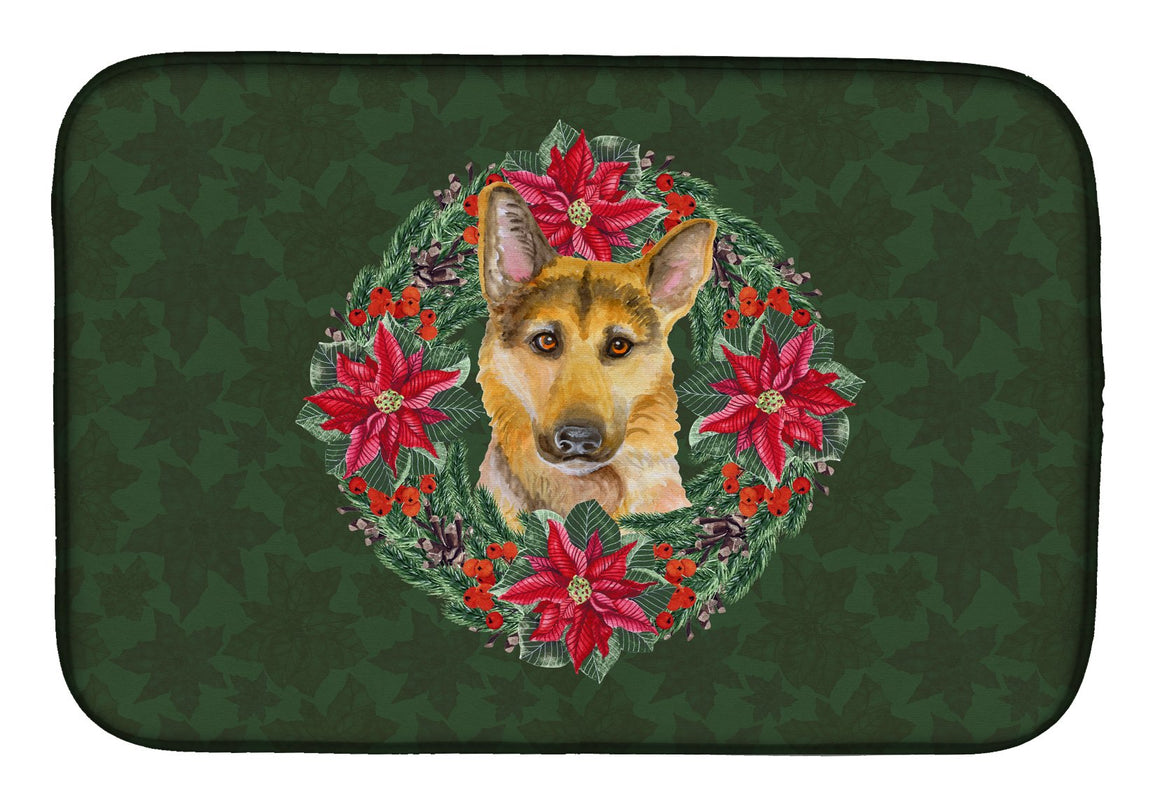 Buy this German Shepherd #2 Poinsetta Wreath Dish Drying Mat CK1577DDM