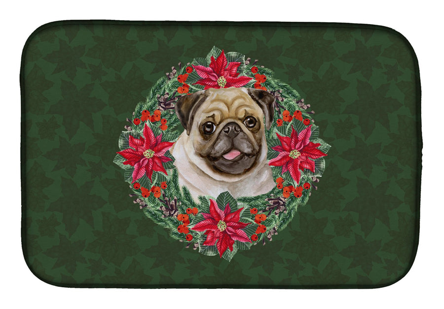Buy this Fawn Pug Poinsetta Wreath Dish Drying Mat CK1584DDM