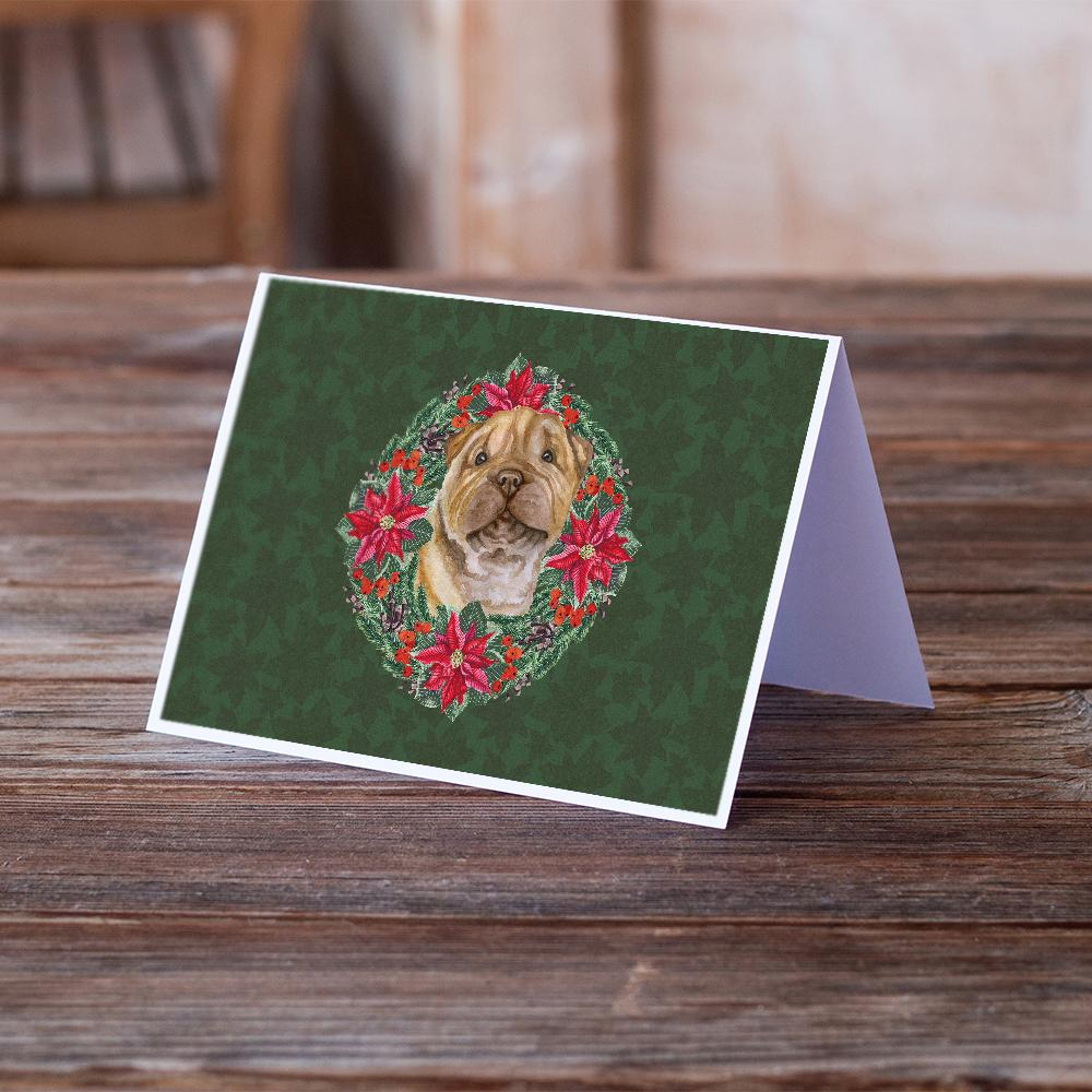 Buy this Shar Pei Puppy Poinsetta Wreath Greeting Cards and Envelopes Pack of 8