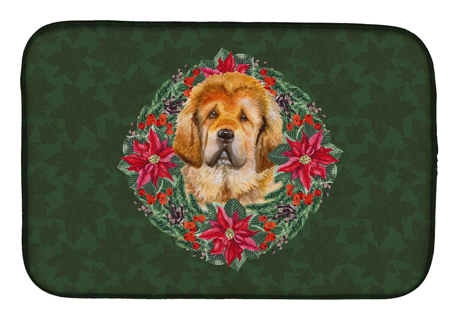 Buy this Tibetan Mastiff Poinsetta Wreath Dish Drying Mat CK1587DDM