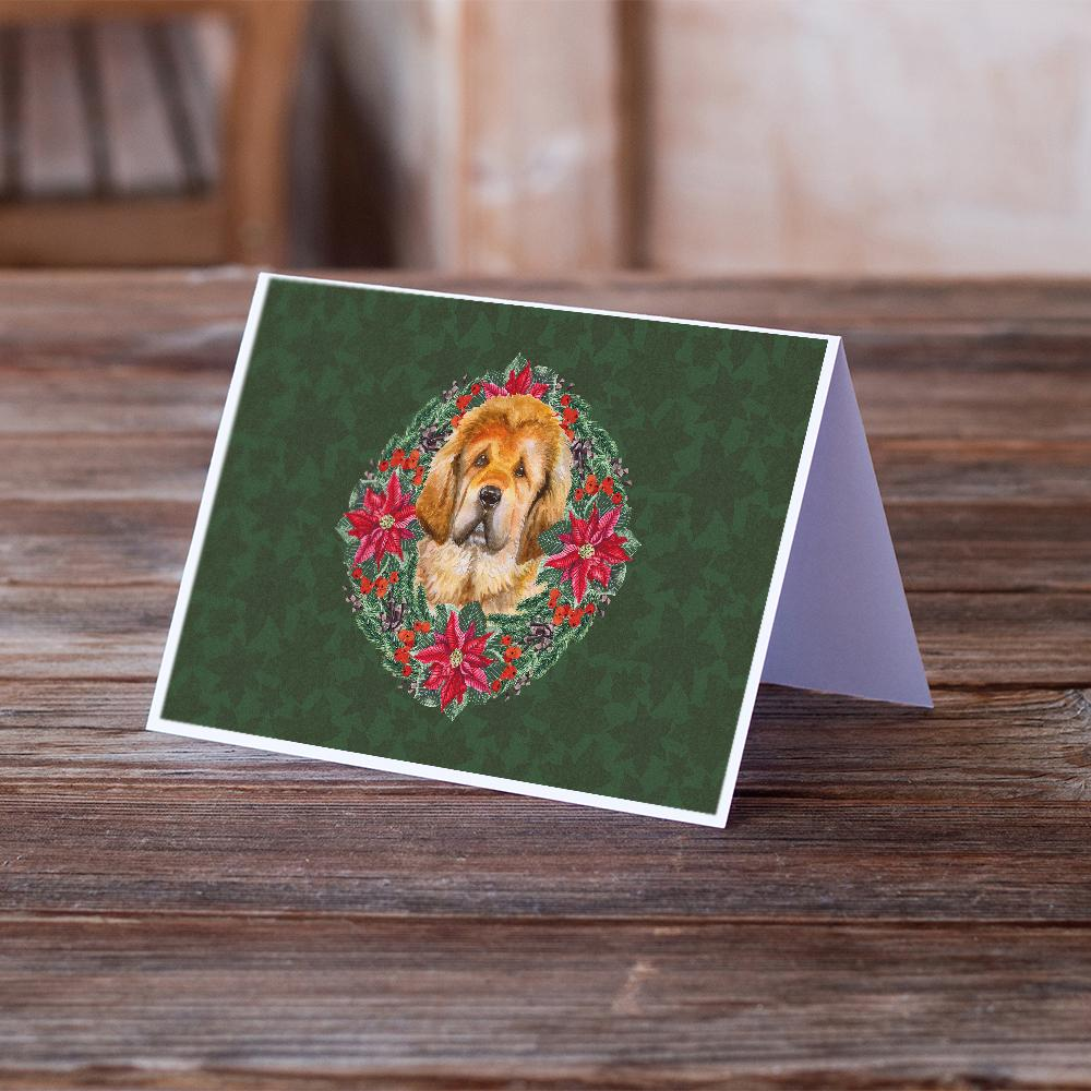 Buy this Tibetan Mastiff Poinsetta Wreath Greeting Cards and Envelopes Pack of 8