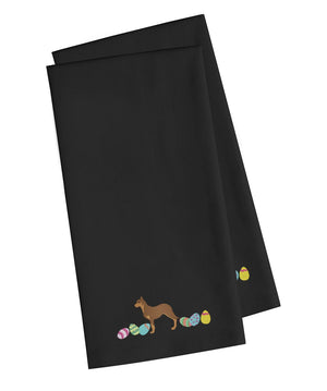 Buy this Australian Kelpie Easter Black Embroidered Kitchen Towel Set of 2 CK1600BKTWE