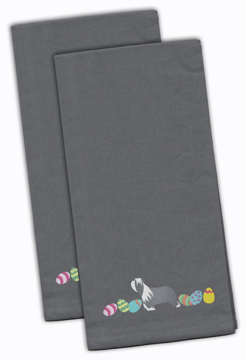 Buy this Bearded Collie Easter Gray Embroidered Kitchen Towel Set of 2 CK1605GYTWE