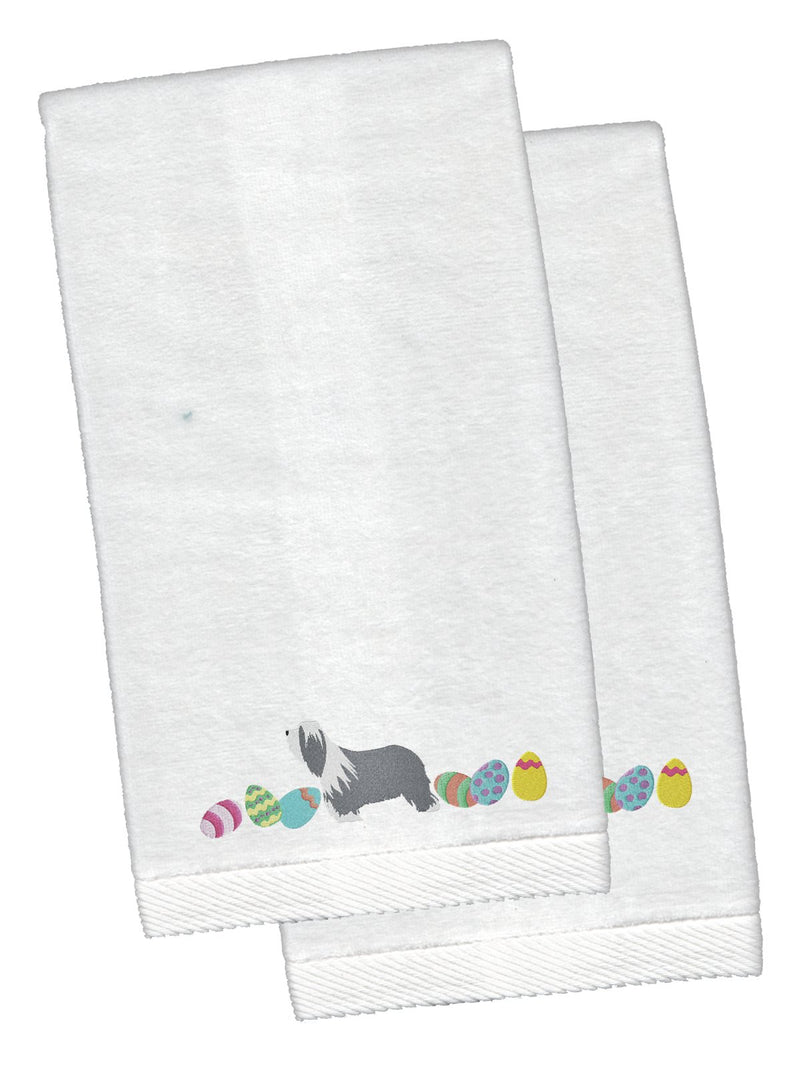 Buy this Bearded Collie Easter White Embroidered Plush Hand Towel Set of 2 CK1605KTEMB