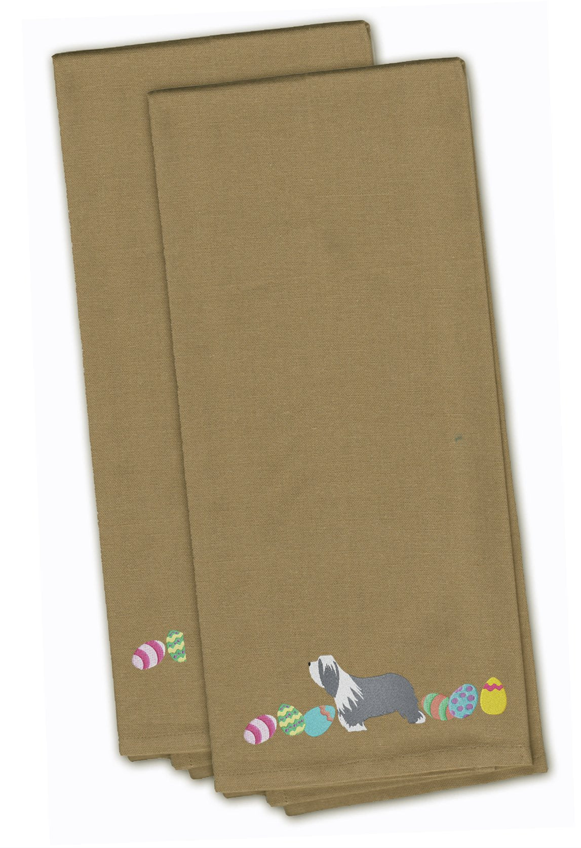 Buy this Bearded Collie Easter Tan Embroidered Kitchen Towel Set of 2 CK1605TNTWE