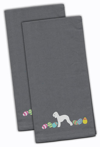 Buy this Bedlington Terrier Easter Gray Embroidered Kitchen Towel Set of 2 CK1606GYTWE
