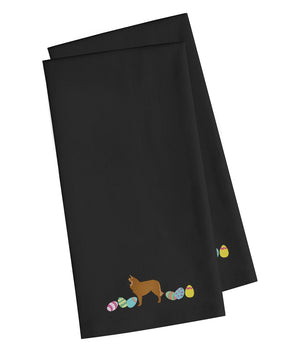 Buy this Belgian Sheepdog Easter Black Embroidered Kitchen Towel Set of 2 CK1607BKTWE