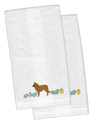 Buy this Belgian Sheepdog Easter White Embroidered Plush Hand Towel Set of 2 CK1607KTEMB