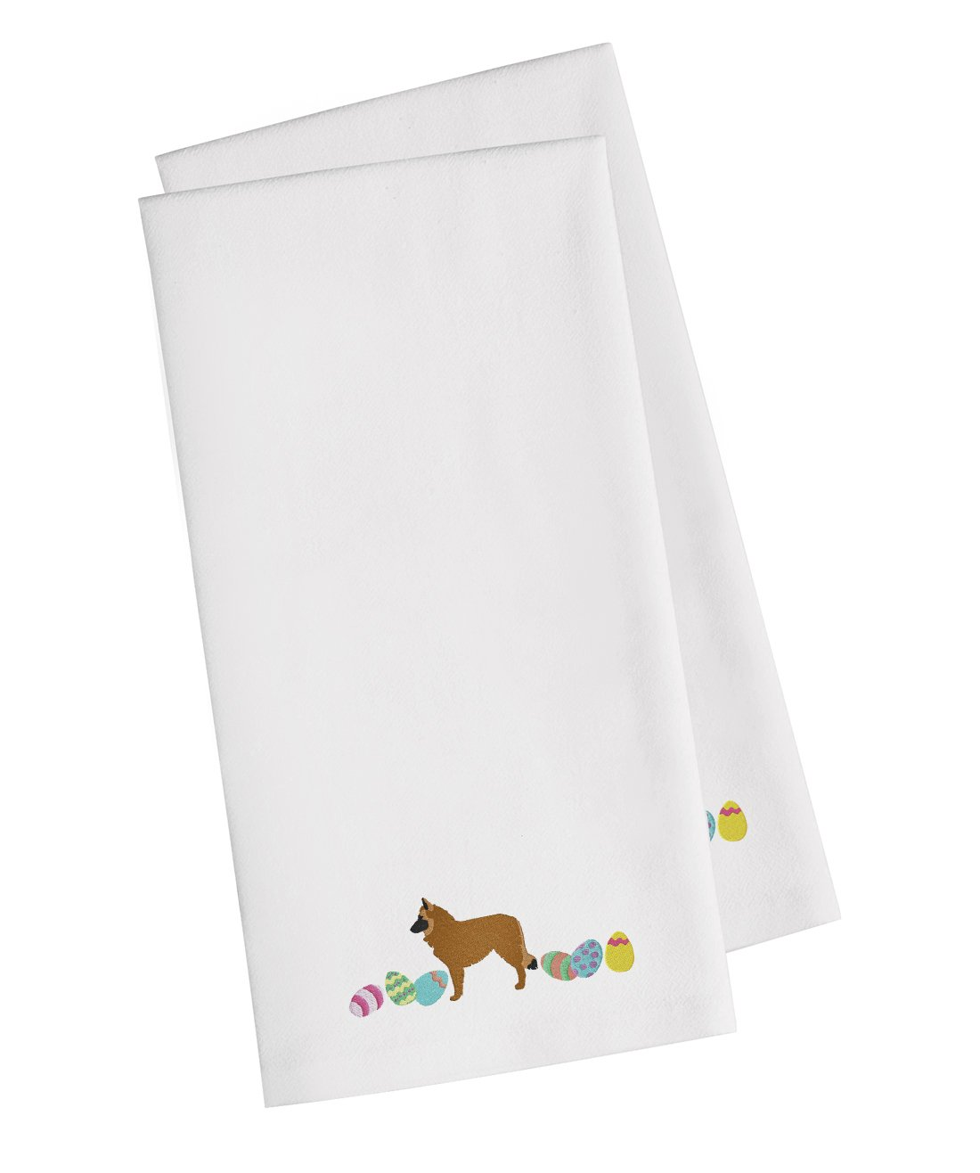 Buy this Belgian Sheepdog Easter White Embroidered Kitchen Towel Set of 2 CK1607WHTWE