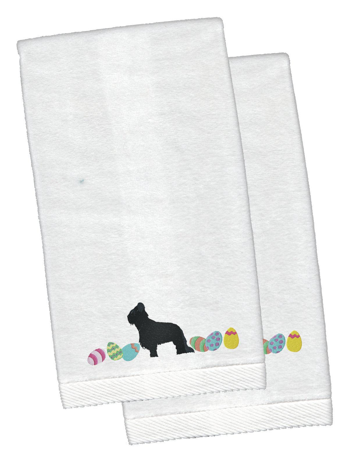 Briard Easter White Embroidered Plush Hand Towel Set of 2 CK1616KTEMB by Caroline's Treasures