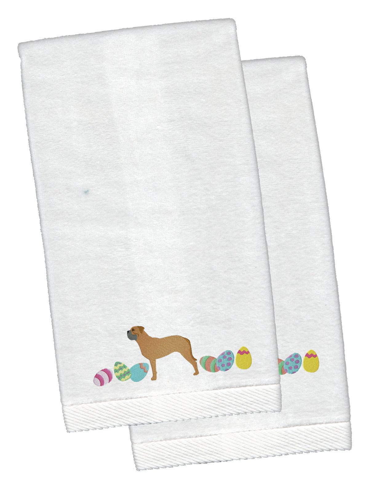 Bullmastiff Easter White Embroidered Plush Hand Towel Set of 2 CK1619KTEMB by Caroline's Treasures