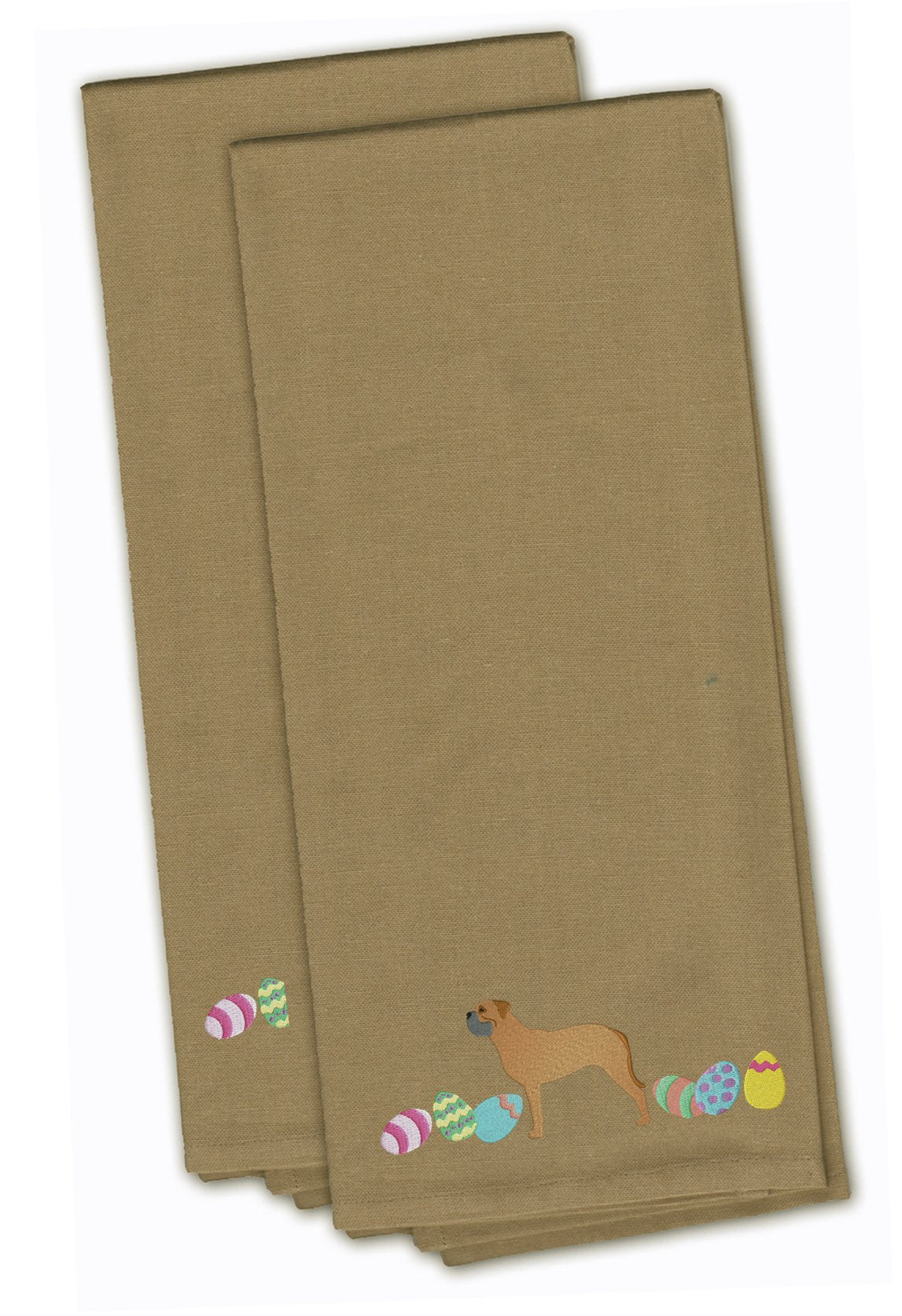 Bullmastiff Easter Tan Embroidered Kitchen Towel Set of 2 CK1619TNTWE by Caroline's Treasures