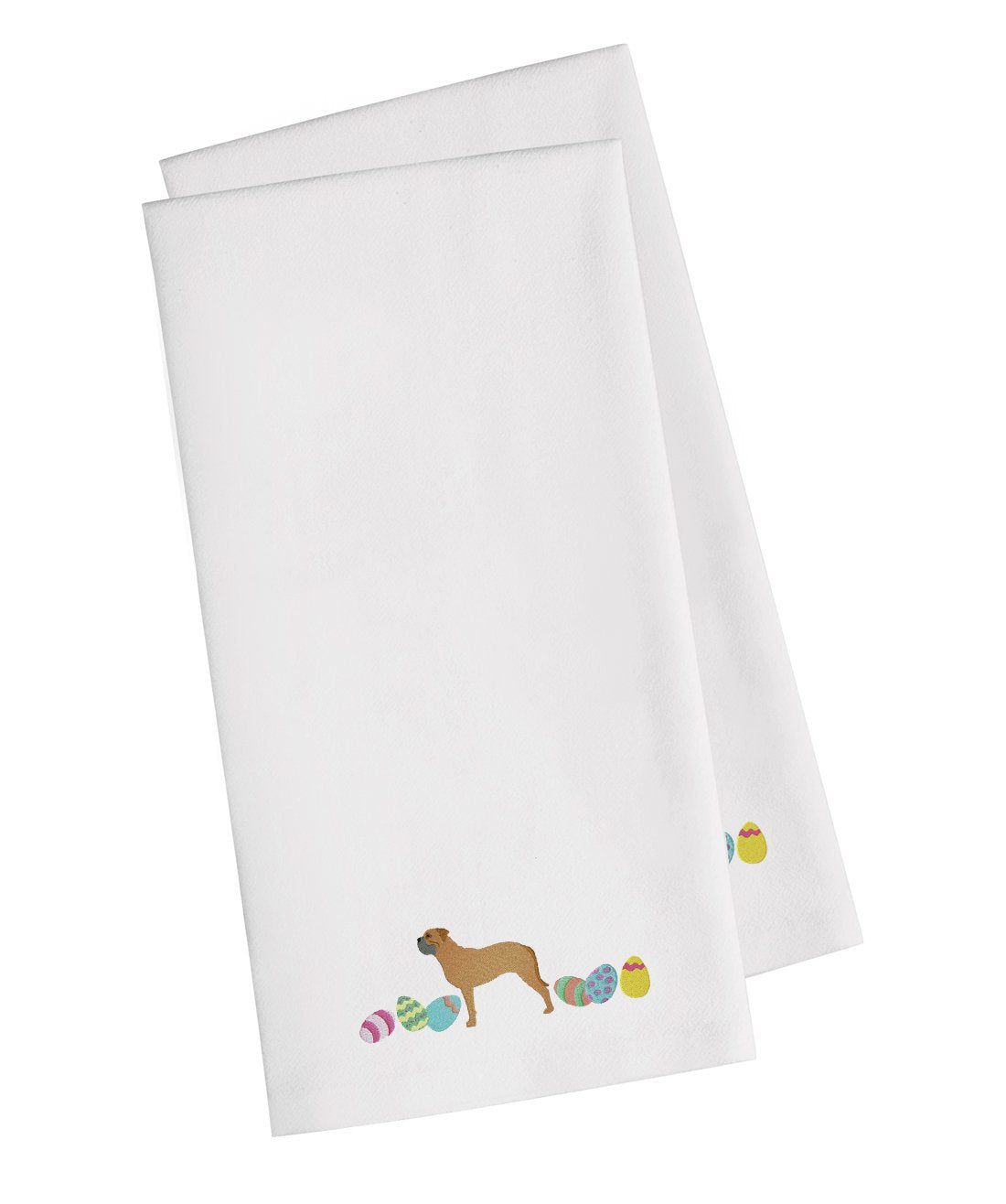Bullmastiff Easter White Embroidered Kitchen Towel Set of 2 CK1619WHTWE by Caroline's Treasures