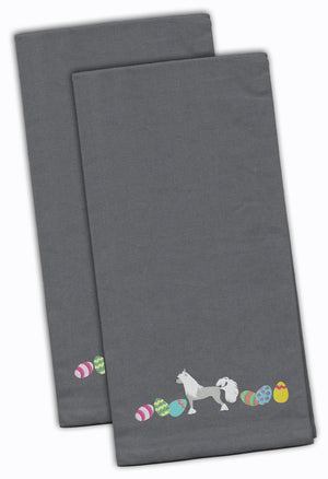 Buy this Chinese Crested Easter Gray Embroidered Kitchen Towel Set of 2 CK1625GYTWE