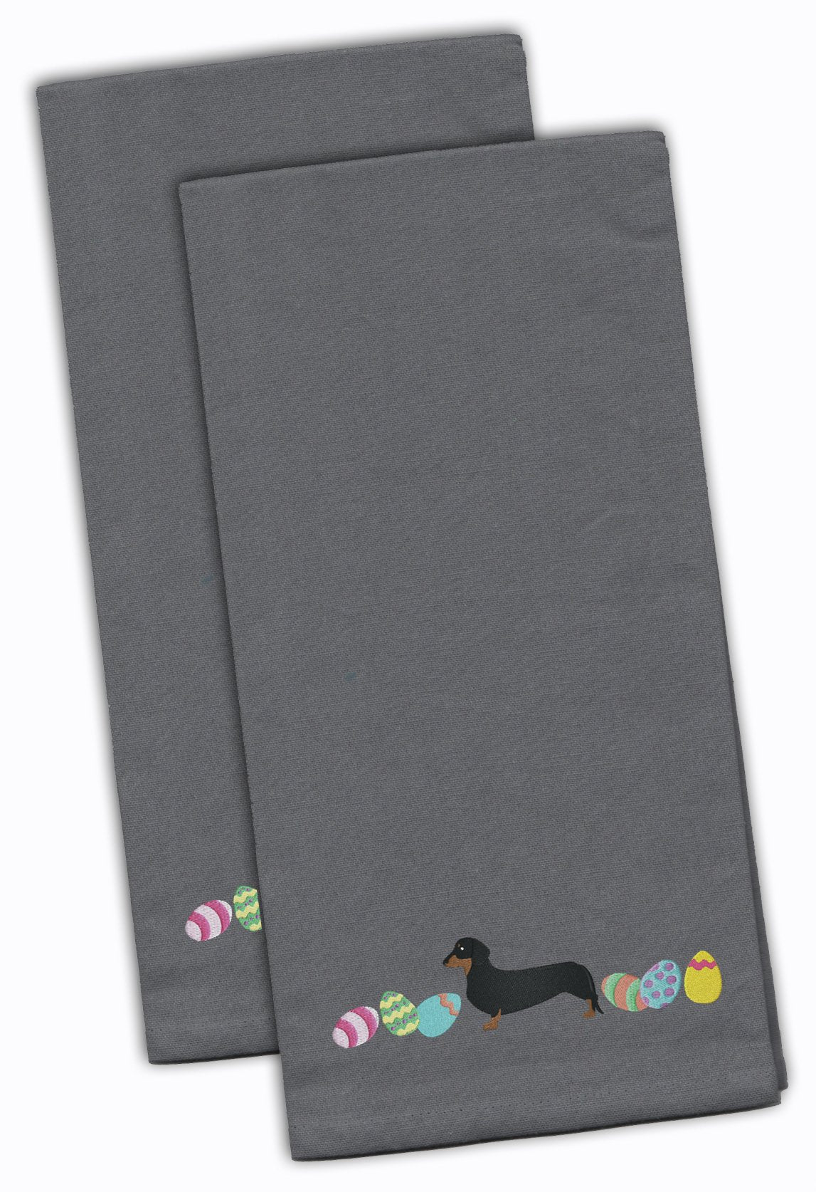 Buy this Dachshund Easter Gray Embroidered Kitchen Towel Set of 2 CK1631GYTWE