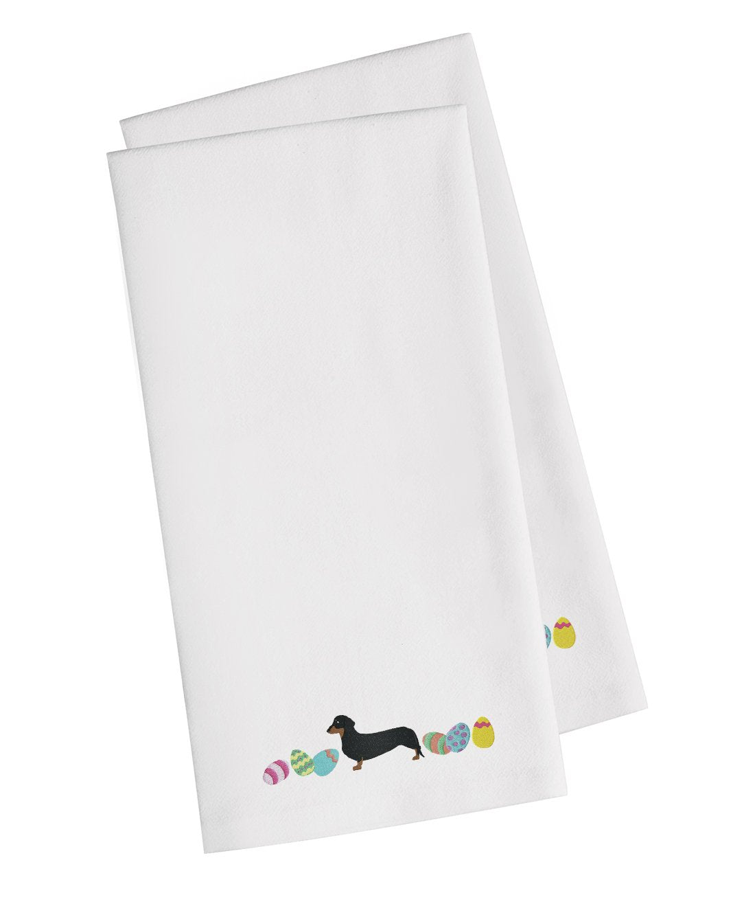 Buy this Dachshund Easter White Embroidered Kitchen Towel Set of 2 CK1631WHTWE
