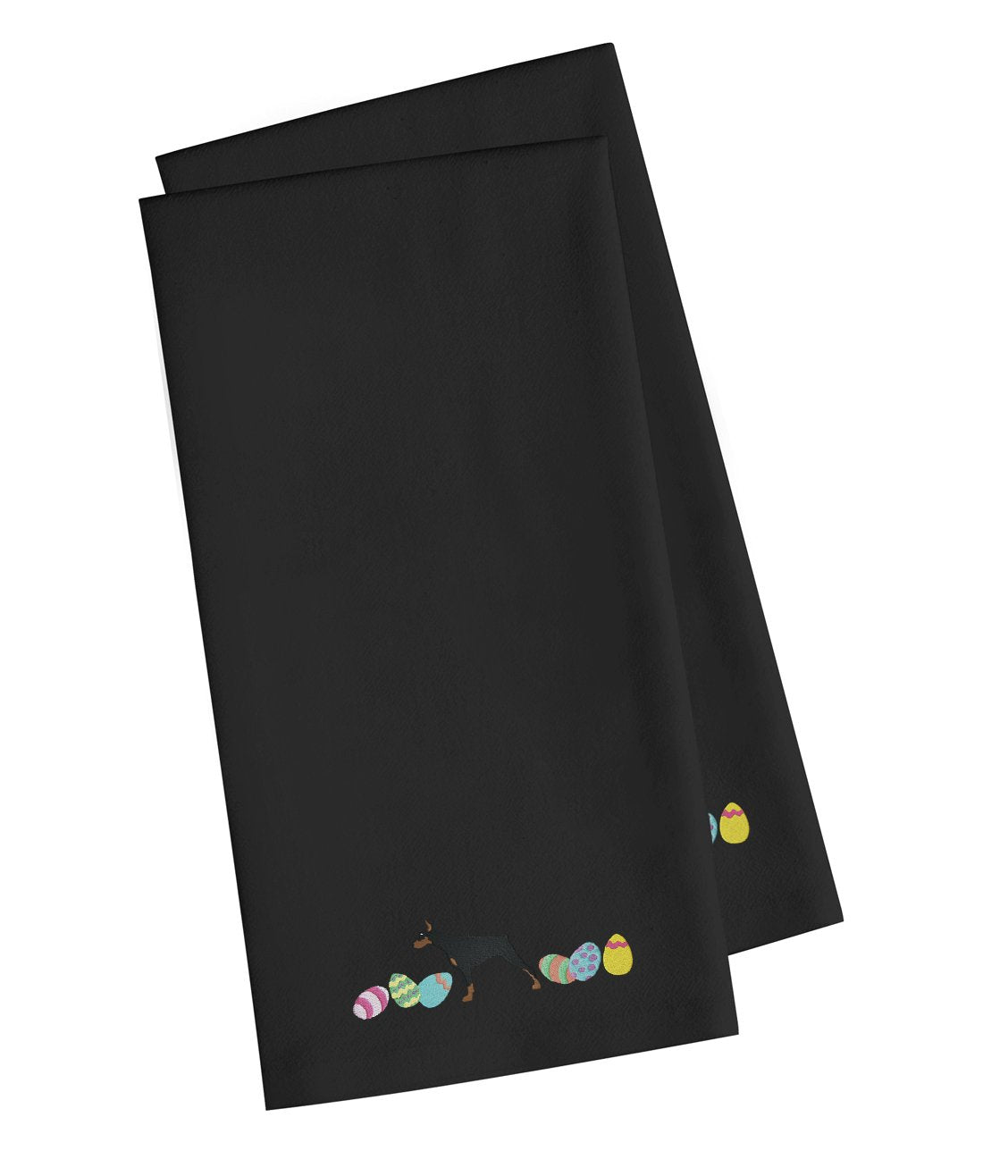 Buy this Doberman Pinscher Easter Black Embroidered Kitchen Towel Set of 2 CK1633BKTWE