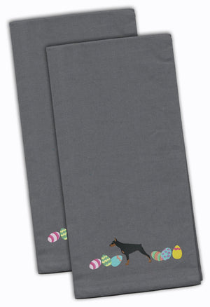 Buy this Doberman Pinscher Easter Gray Embroidered Kitchen Towel Set of 2 CK1633GYTWE
