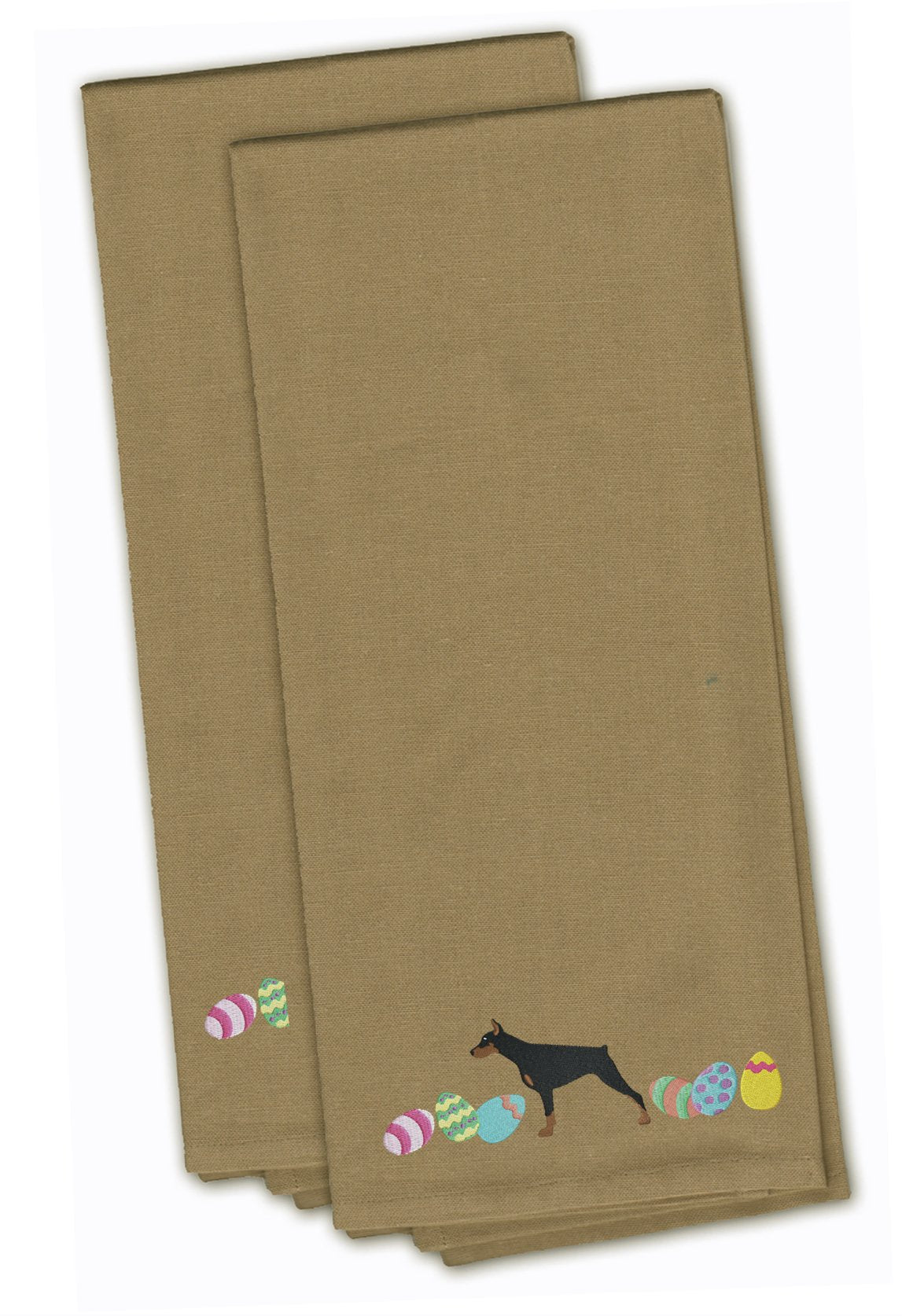 Buy this Doberman Pinscher Easter Tan Embroidered Kitchen Towel Set of 2 CK1633TNTWE
