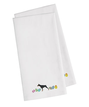 Buy this Doberman Pinscher Easter White Embroidered Kitchen Towel Set of 2 CK1633WHTWE