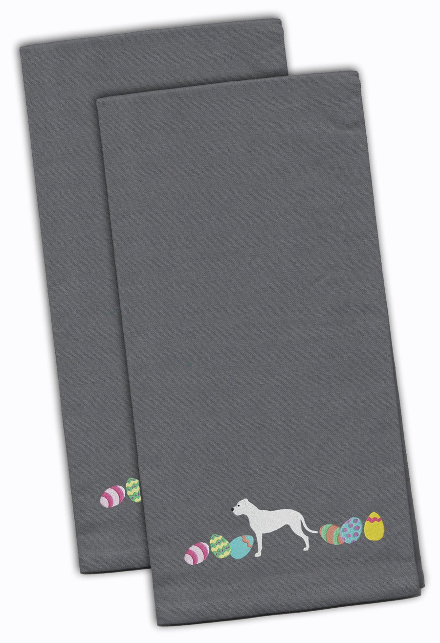 Buy this Pit Bull Terrier Easter Gray Embroidered Kitchen Towel Set of 2 CK1634GYTWE