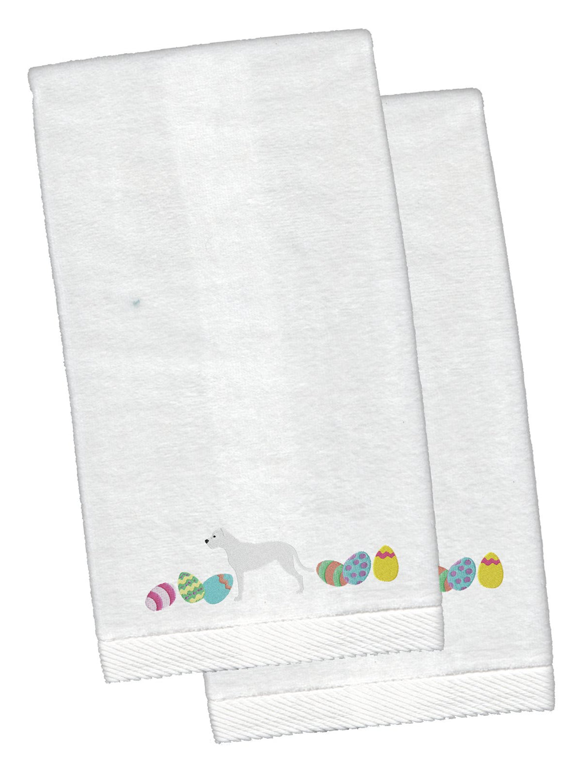 Buy this Pit Bull Terrier Easter White Embroidered Plush Hand Towel Set of 2 CK1634KTEMB