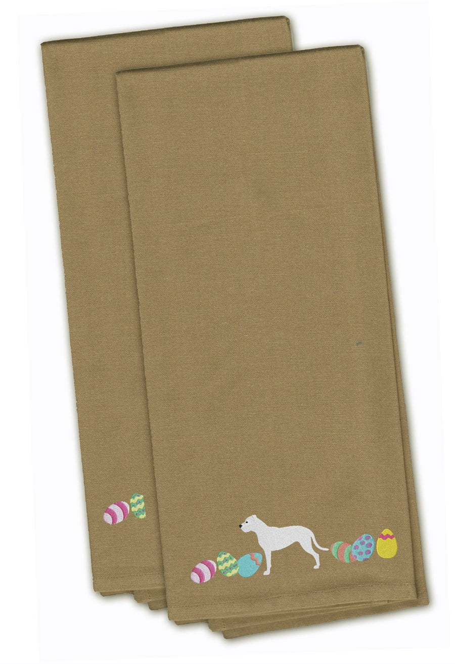 Buy this Pit Bull Terrier Easter Tan Embroidered Kitchen Towel Set of 2 CK1634TNTWE
