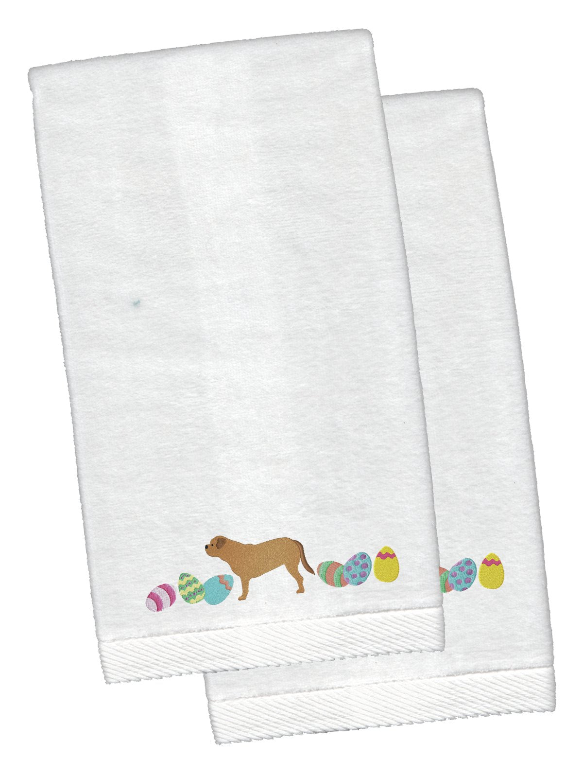 Dogue de Bordeaux Easter White Embroidered Plush Hand Towel Set of 2 CK1635KTEMB by Caroline's Treasures