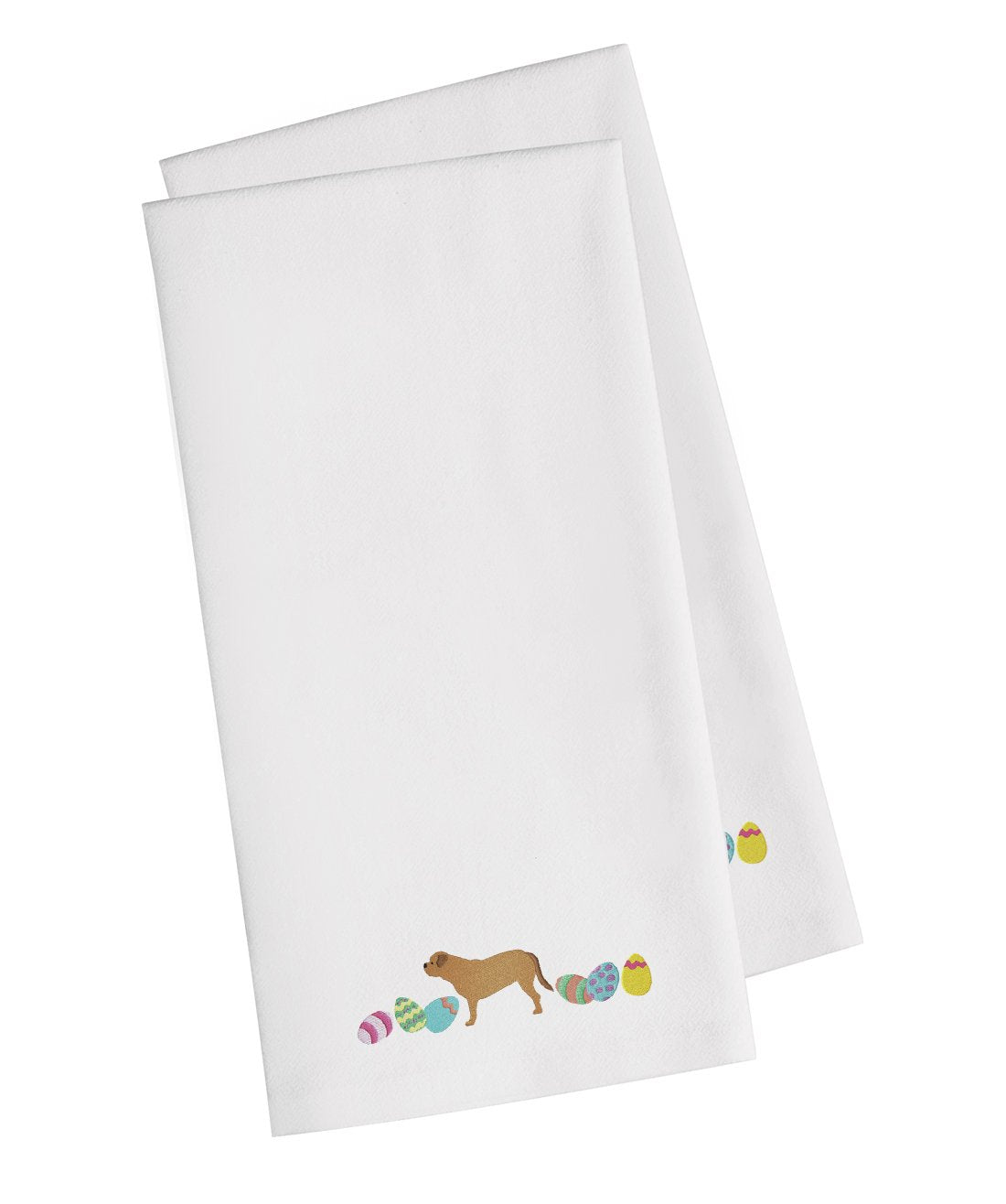 Buy this Dogue de Bordeaux Easter White Embroidered Kitchen Towel Set of 2 CK1635WHTWE