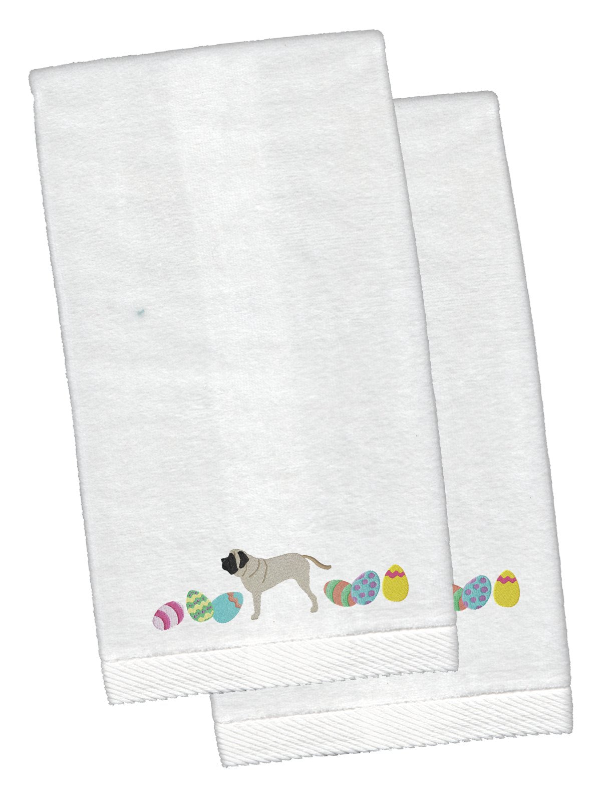 English Mastiff Easter White Embroidered Plush Hand Towel Set of 2 CK1638KTEMB by Caroline's Treasures