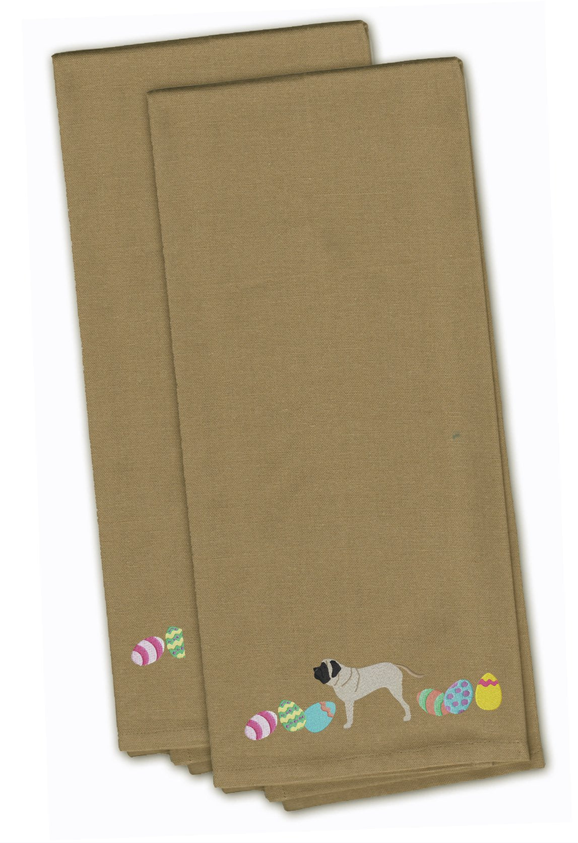 English Mastiff Easter Tan Embroidered Kitchen Towel Set of 2 CK1638TNTWE by Caroline's Treasures