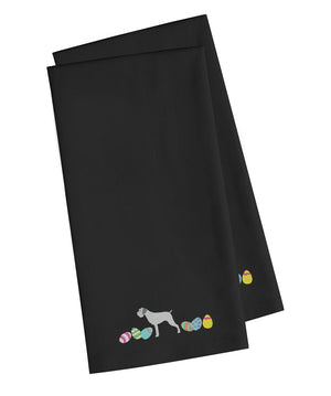Buy this German Wirehaired Pointer Easter Black Embroidered Kitchen Towel Set of 2 CK1645BKTWE