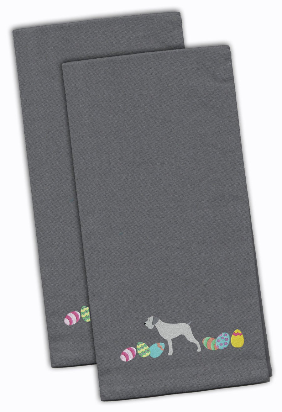 Buy this German Wirehaired Pointer Easter Gray Embroidered Kitchen Towel Set of 2 CK1645GYTWE