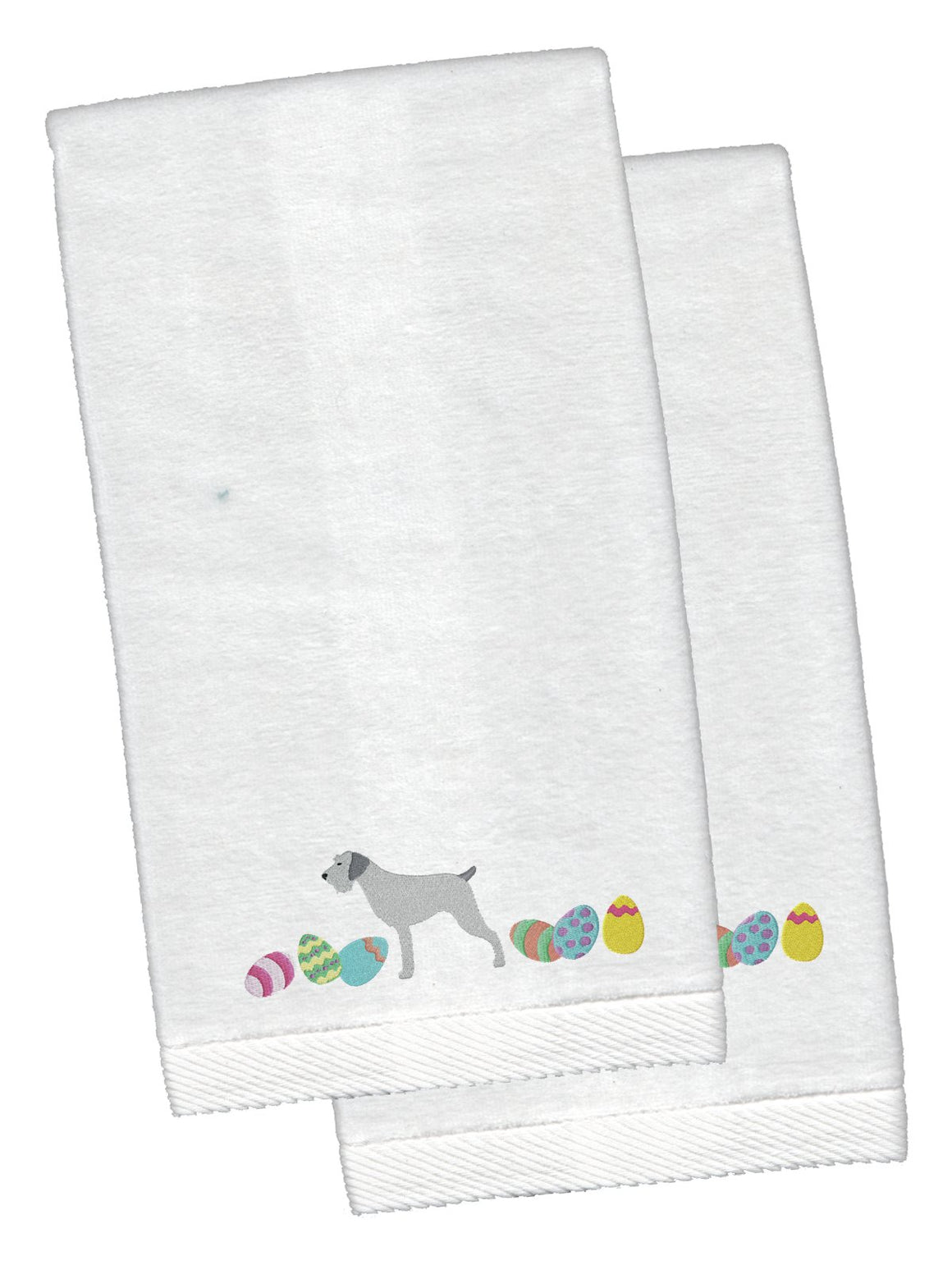 Buy this German Wirehaired Pointer Easter White Embroidered Plush Hand Towel Set of 2 CK1645KTEMB