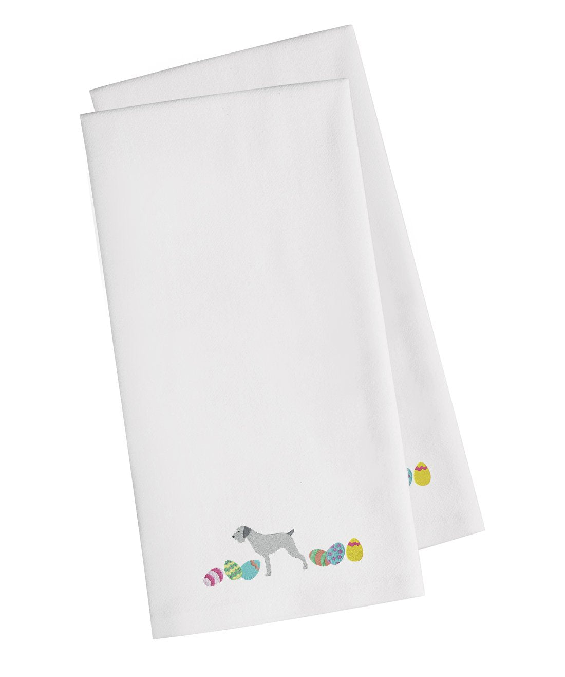 Buy this German Wirehaired Pointer Easter White Embroidered Kitchen Towel Set of 2 CK1645WHTWE