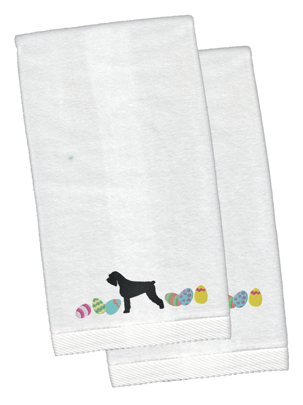 Buy this Giant Schnauzer Easter White Embroidered Plush Hand Towel Set of 2 CK1646KTEMB