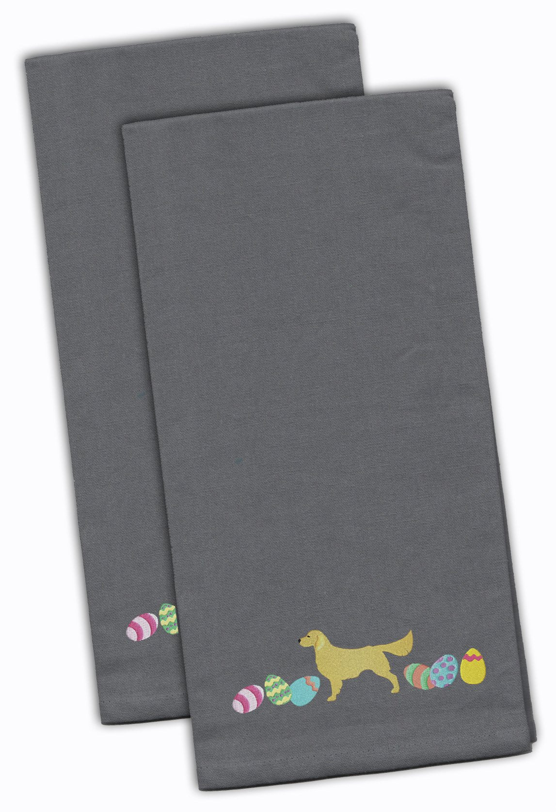 Buy this Golden Retriever Easter Gray Embroidered Kitchen Towel Set of 2 CK1647GYTWE