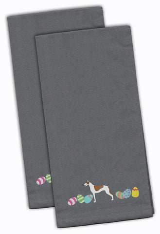 Buy this Greyhound Easter Gray Embroidered Kitchen Towel Set of 2 CK1651GYTWE