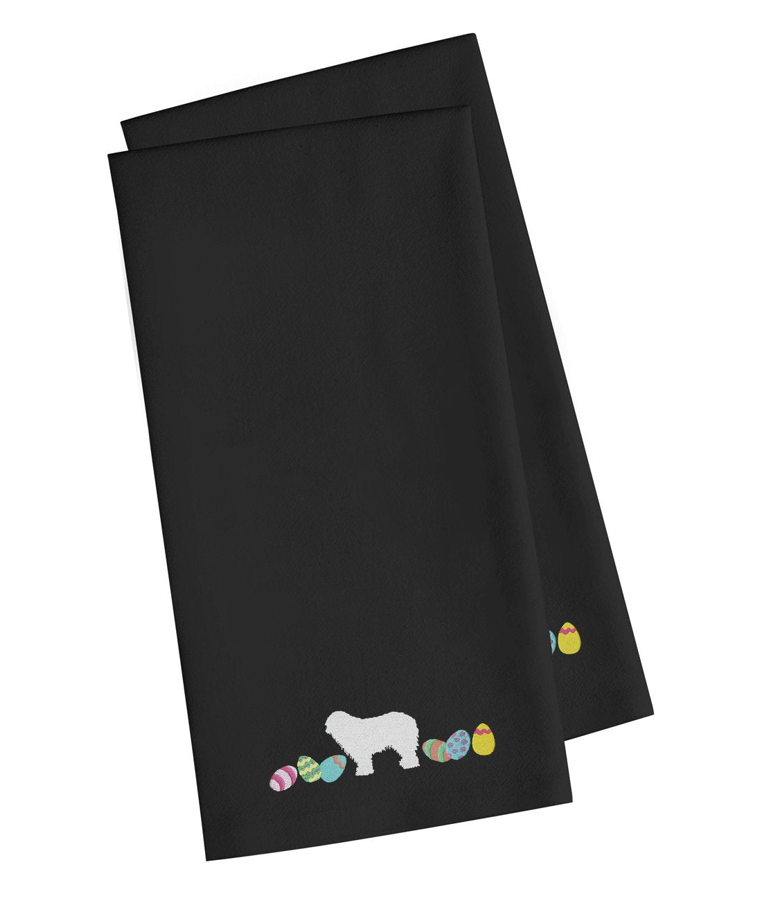Komondor Easter Black Embroidered Kitchen Towel Set of 2 CK1660BKTWE by Caroline's Treasures