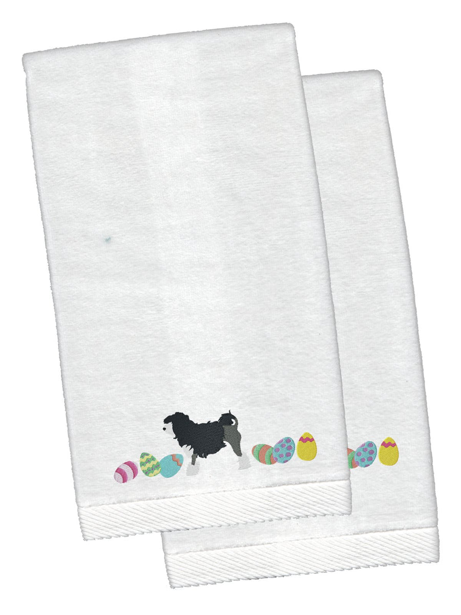 Buy this Lowchen Easter White Embroidered Plush Hand Towel Set of 2 CK1662KTEMB