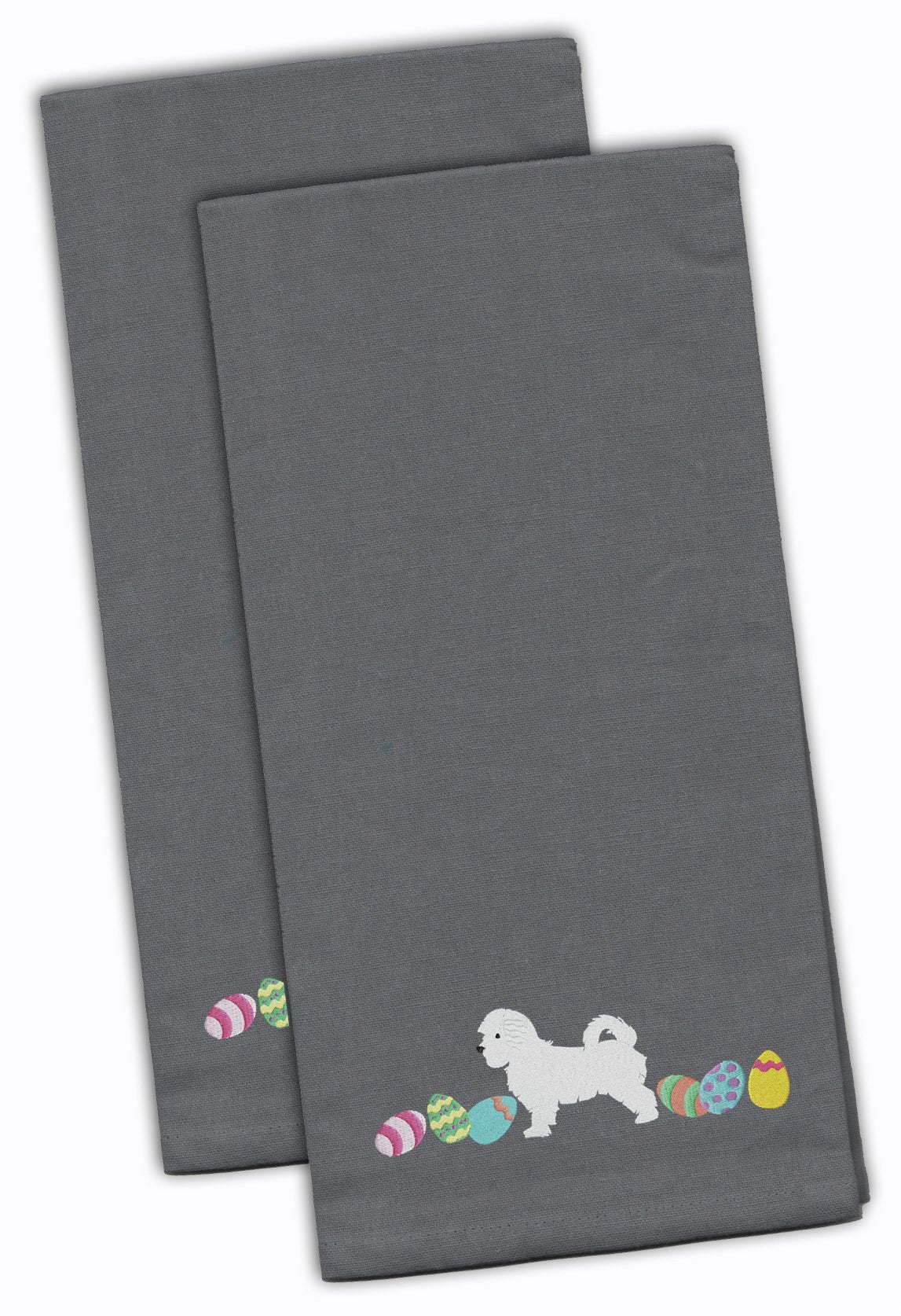 Maltese Easter Gray Embroidered Kitchen Towel Set of 2 CK1663GYTWE by Caroline's Treasures